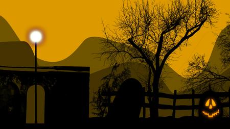 3d illustration of a pumpkin light on a graveyard and yellow sky.