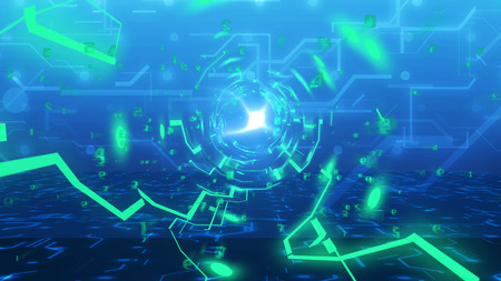 Abstract technology Tunnel from imitation of circuit board and digital numbers. Concept of Internet business in progress. 3d illustration.