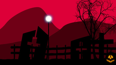 3D illustration of an old graveyard with three half ruined tombs with crosses, a sinister tree, and a street lantern on Halloween. The dark red sky looks mysterious and threatening. Stock Photo