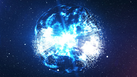 3D illustration of the spheric Big Bang resembling the clusters of plazma antimatter, with billions of atomic elements, bright suns and planets around in the bright blue background Stock Photo