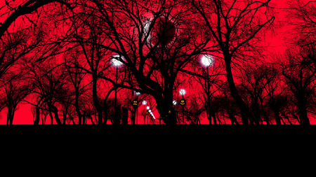 3D illustration of an old graveyard with crosses and creepy trees d on Halloween at solar eclipse. The dark red sky and street lanterns look enigmatic and threatening.