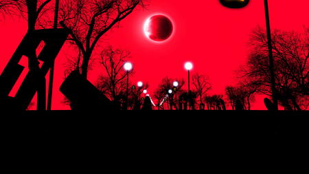 3D illustration of an old cemetry with several half ruined tombs with crosses, a row of street lanterns, and several sinister trees, on Halloween.  The red sky and moon eclipse look  ominous. Stock Photo