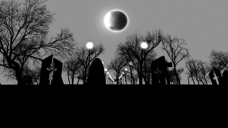 3D illustration of an old cemetry full of creepy spitirs with half ruined tombs with crosses, street lanterns, sinister trees, on Halloween.  The dark sky and moon blackout look chilling.  Stock Photo