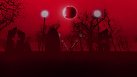 3D rendering of an old graveyard with three tombs with crosses, a row of street lanterns, and several sinister trees, on Halloween.  The bloody sky and moon eclipse look menacing.