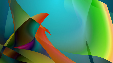 tenderly: Arty looking 3D illustration of several multicolored fish flippers which touch each other tenderly. This is an enigmatic representation of dolphin love in yellow, blue and green colors Stock Photo