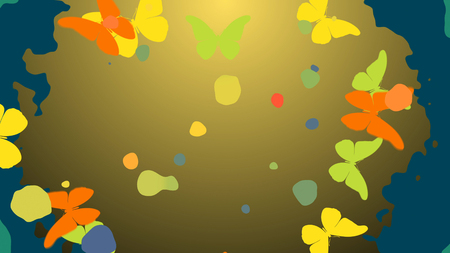 Inspiring 3D rendering of orange and yellow butterflies flying in different sides from the center which presents the light brown background with bright multicolored spots Stock Photo
