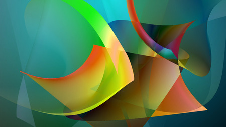 High art 3D illustration of an abstract picture which shows some futuristic fishes of yellow, blue, green, brown colors, and other tints. The lines are curvy and tender