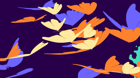 Joyful 3D rendering of the big orange, blue, and white butterflies with clubbed antennae, and fairy tale fragile wings, flying in profile in the bright violet background