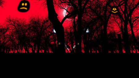 3D rendering of an ancient graveyard with two lit pumpkins and sinister trees on Halloween at moon eclipse. The sinister red sky and street lanterns look mysterious and threatening.
