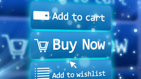 Hi-tech 3D illustration of ultramodern internet shop with such options as add to cart, buy now, add to wishlist placed on three icons on a light blue background with basket signs