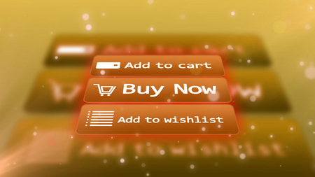 3D  rendering  of a light brown internet shop screen with  inscriptions ADD TO CART,  BUY NOW, ADD TO WISHLIST,  from up-down perspective  and a trolley , a grid, and email signs on buttons Stock Photo