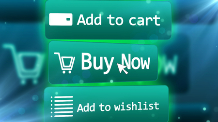 3D rendering  of a bright blue internet shop screen with  commands ADD TO CART,  BUY NOW, ADD TO WISHLIST,  with a number of drawings including  a trolley, a grid, email, and an arrow symbols