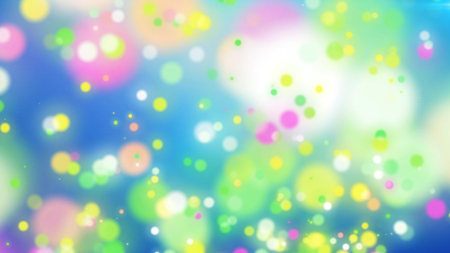 Inspiring 3d illustration of colorful particles on a light blue background with flashing white places. The picture encourages for a dreamlike and kidding mood