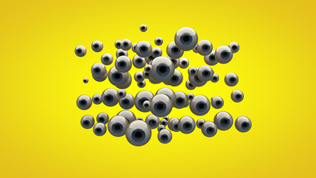 Impressive 3D rendering of round out eyes of different sizes looking directly and placed in the center. Dozens of the gray eyes with blue iris are located in a yellow  background Stock Photo