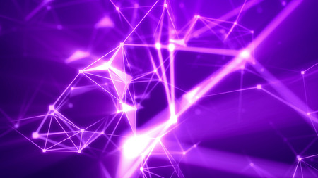 Impressive 3d illustration of the dark violet cyberspace pierced with light pink tunnels and connecting with each other in some shining spots and multi-sided surfaces