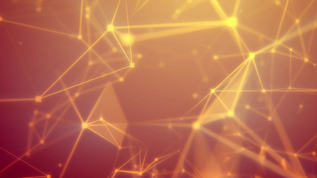 Amazing 3d illustration of a blurred sci-fi Internet based cyberspace with frequent shining yellow connections, triangular surfaces, dazzling spotlights, crystals, and the bright orange background