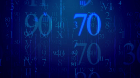 Fantastic 3d rendering of luminous light blue Latin and Arabic digits, with huge 90 and 70, having various sizes and lighting in the dark blue background like messages in some cyber network