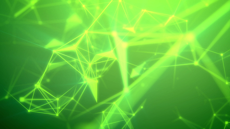 Exciting 3d rendering of a fantastic Internet based cyberspace with numerous luminous light green and yellow lines, triangular surfaces, geml looking spots, and the green background Stock Photo