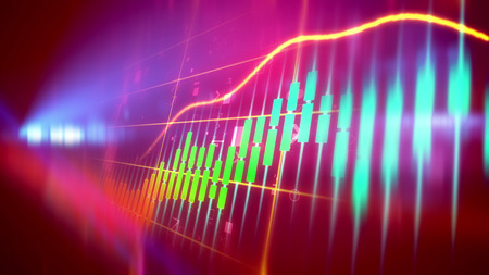 Multicolored 3d illustration of a sparkling business line chart taken aslant with a rising orange index line with blue, green, yellow, charts in the violet background. The spotlight is seen too.