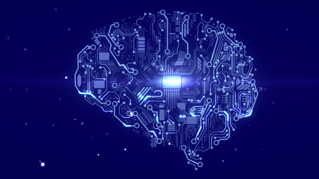 Futuristic 3d illustration of an android looking brain with sparkling circuits, devices, a plazma looking CPU microchips, of the light blue color in the dark blue cyberface.