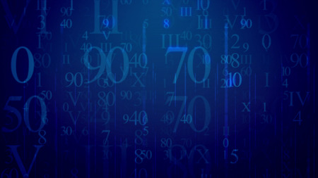 Matrix style 3d illustrationof radiant light blue Latin and Arabic digits having various shapes and lighting in the dark blue background like communication e-mails in some network
