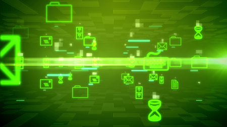 Futuristic 3d rendering of rushing and shimmering texts, electronic mails, sand clocks, routes, lines, in some abstract cyberspace in the dark green background