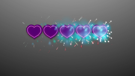Romantic 3d illustration of five violet hearts placed in arrow in the gray background with sparkling white dots, spots and lines.  The business rating is high, emotional, and deserves respect Stock Photo