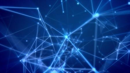 Ilustración 3d espléndida de un vuelo futurista del ciberespacio a través de la rejilla azul claro con los puntos brillantes, de facetas triangulares, de reflectores, y de una red de la pirámide que mira acoplamientos en el contexto azul marino