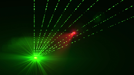 Super 3d rendering of a big green star with a number of straight rays glowing like equal paths in the dark green background. Wonderful  illustration for any showmanship manual Stock Photo