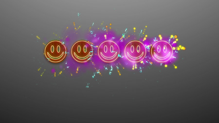 3d illustration of five brown and violetsmiling emoticons put in a line in the gray background with sparkling white and blue dots and lines.  The business rating is high, funny and emotional.