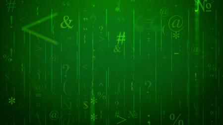 Impressive 3d illustration of shimmering light green ampersand, at sign, grid and others, having various sizes and dazzling in the dark green background like e-mails in some cyberspace