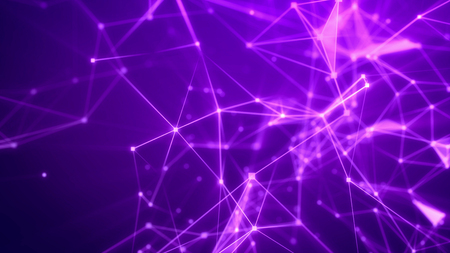 3d illustration of a blurred sci-fi Internet based cyberspace with frequent shining rosy and pink connections, triangular surfaces, dazzling spotlights, crystals, and the bright violet background