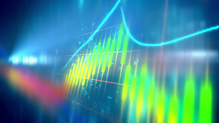 Amazing 3d illustration of a multicolored business line chart taken aslant in the light blue background with some signs put behind. The rainbow looking blot decorates the illustration.