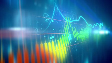 Illustration 3D d'un graphique en ligne d'affaires coloré présenté en diagonale avec un index agité ayant des périodes flambées et en chute libre dans le fond bleu. Les barres de graphique sont orange, jaune et bleu. Banque d'images - 86222006