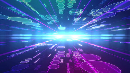 vibrating: Dreamlike 3d illustration of a violet background with flying lines of saucers of various sizes placed on two surfaces of a multilayered cyberspace and moving to a shining center with bright rays