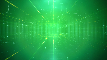 Unusual 3d illustration of a sci-fi technology cyberspace channel through a time portal with a network of figures and plazma looking center. The background is green. It has a lot of spots and rays. Stock Photo
