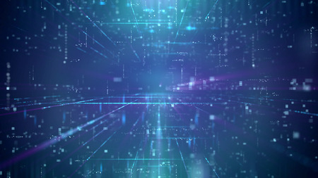 Ilustración 3d ilusión óptica de un canal de ciberespacio de tecnología innovadora a través de un portal con cuadrados decrecientes. El fondo es azul. Tiene un montón de puntos y líneas brillantes. Foto de archivo - 87074108