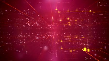 Emocionante ilustración 3d de un canal de ciberespacio de tecnología avanzada a través de un portal de tiempo con una red de cuadrados. El fondo es violeta. Tiene muchos focos y rayos brillantes. Foto de archivo - 87158016