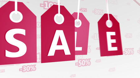 Cheery 3drendering of four retro red sales tags swinging in the white background with 20, 50, 100 percent discounts. It is linked with Christmas.