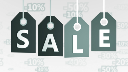 Salient 3d rendering of four grey sales tags of different tints placed in a line in the white background with letters S, A, L, E, and a number of digital discounts. They designate buy and sell world. Stock fotó