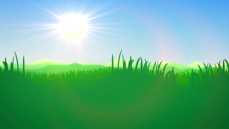 Impressive 3d rendering of a summer sunset in blue and green impressionist colors. The horizon line divides light blue sky and lime green reed, cane and bulrush. Stock Photo