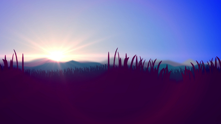 Original 3d illustration of a summer sunset in blue and violet impressionist colors. The horizon line divides light blue sky and violet reed, cane and bulrush. Stock Photo