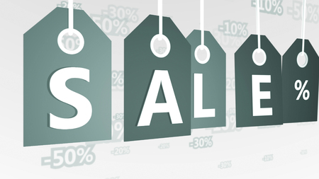 3d rendering of five grey sales tags placed askew in the white background with letters S, A, L, E, and sign per cent, as well as 20, 30, and 50 percent discounts. They symbolize modern business. Stock Photo