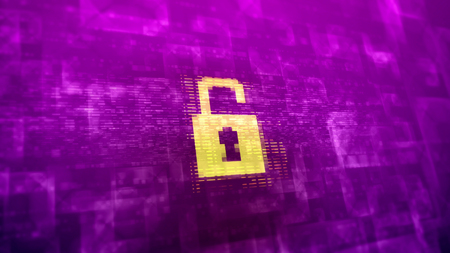 Enigmatic 3d rendering of a white unlocked lock sign placed in the center in the violet background covered with various lines and blurred forms in a cyberspace presentation