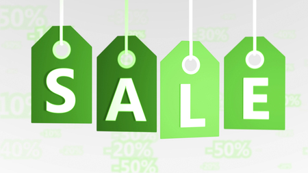 Exciting 3d rendering of four lime green sales tags of different shadows put aslant in the white background with letters S, A, L, E. They mean the buy and sell world.