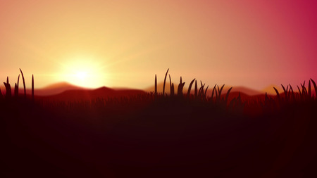 Exciting 3d illustration of a splendid sunset in yallow and brown impressionist colors. The horizon line divides light yellow and pink sky and dark brown reed, cane and bulrush. Stock Photo