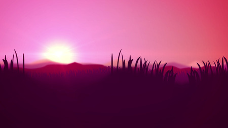Inspiring 3d rendering of a wonderful sunset in pink and violet impressionist colors. The horizon line divides light pink sky and dark violet wetland with its reed and cane