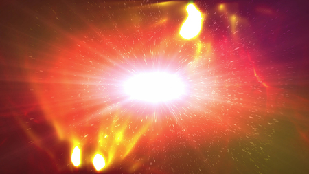Abstract 3d illustraton of an outer cosmos whita plazma looking star with spiral protuberances around. It is white in the center, with white, yellow and red flashes in the dark red background