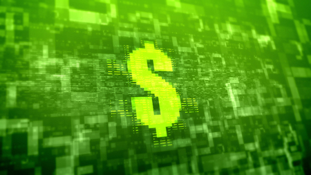 Bright 3d illustration of a yellow dollar sign placed askew in the light green background covered with multilayered square and rectangular forms in holographic presentation Stock Photo