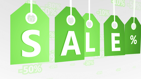 Original 3d rendering of five light green sales tags of various tints put diagonally in the white background with letters S, A, L, E, and per cent sign. They mean commerce world. Stock fotó